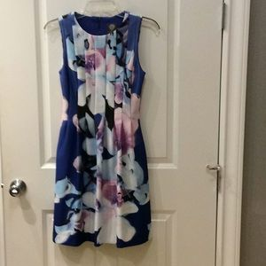 Sleeveless fit and flare dress.